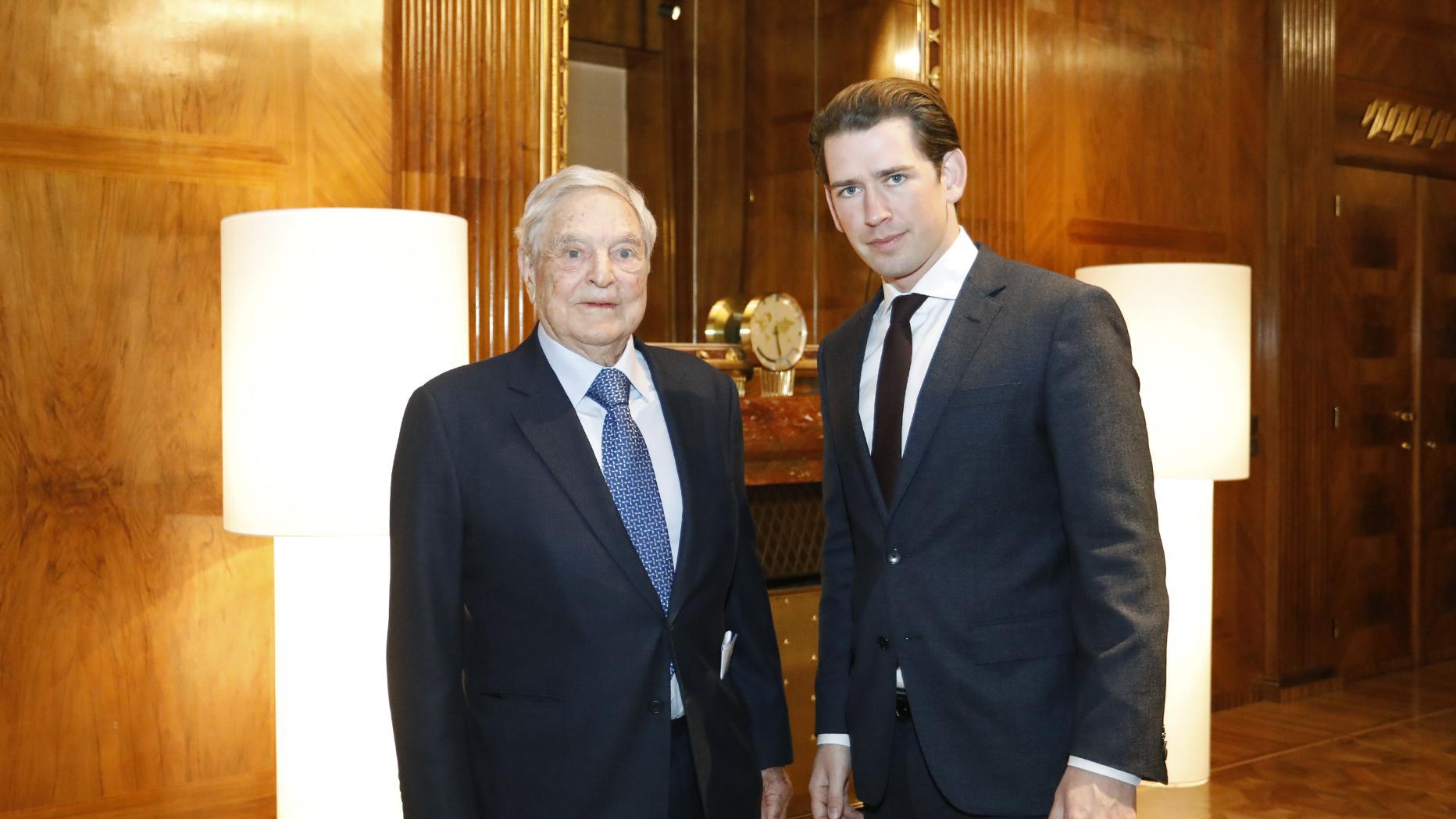 Sebastian Kurz empfängt George Soros im Kanzleramt