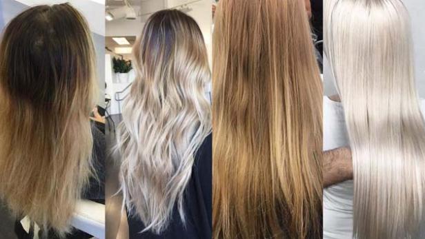 Dunkle haare blondieren vorher nachher