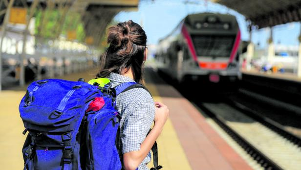 backpackers girl waiting for the train