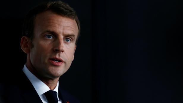 French President Emmanuel Macron delivers a speech in Quimper