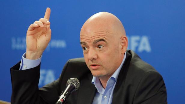 FIFA President Gianni Infantino addresses the media in Rome