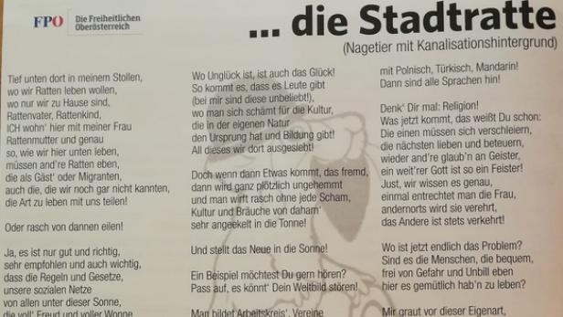 Ratten Gedicht Der Fpö Braunau Erzürnt Die övp Kurierat