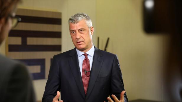 Kosovo's President Hashim Thaci attends an interview with Reuters in Berlin