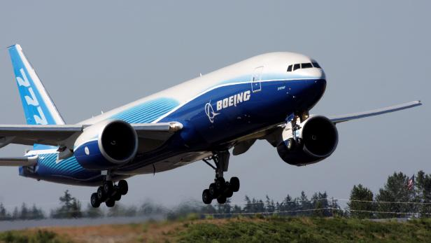 FILE PHOTO: The first Boeing 777 Freighter take off on its inaugural test flight at Paine Field in Everett, Washington