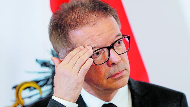 FILE PHOTO: Health Minister Rudolf Anschober addresses the media in Vienna