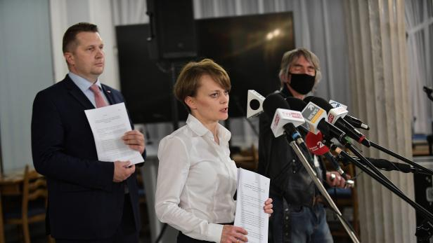 Polish ruling party Law and Justice press conference