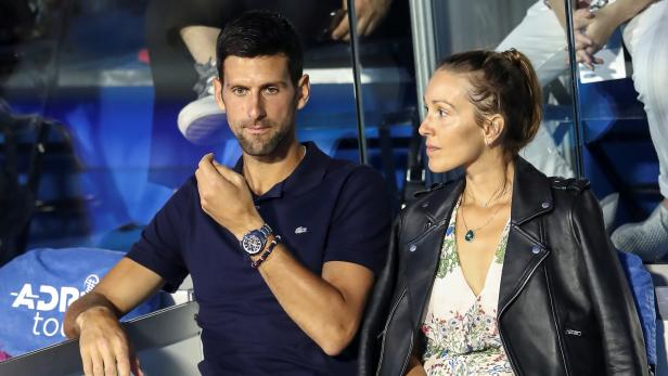 Serbia's Novak Djokovic with his wife Jelena in the stands during Adria Tour at Novak Tennis Centre in Belgrade