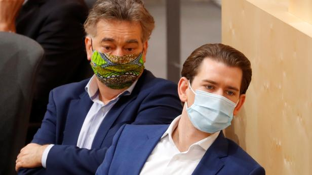Austrian Chancellor Kurz and Vice Chancellor Kogler attend a session of the Parliament in Vienna