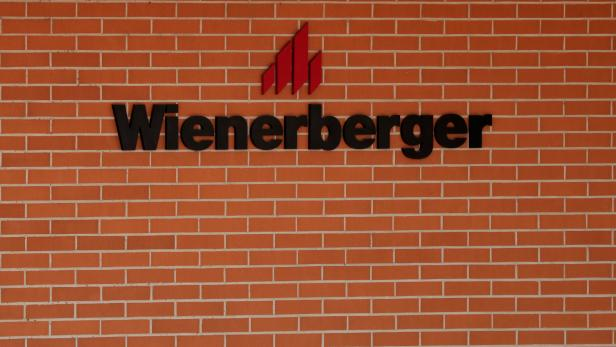 The logo of Wienerberger, the world's biggest brick maker, is seen at its headquarters in Hennersdorf