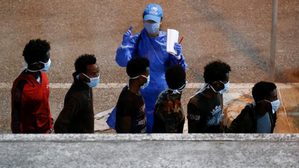 FILE PHOTO: Migrants rescued by Maltese Armed Forces are brought to Malta in Senglea
