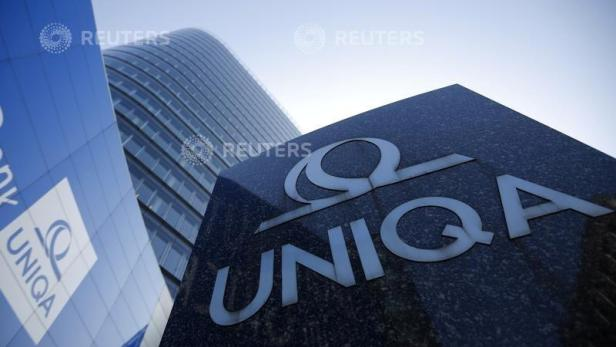 FILE PHOTO: The logo of the Austrian insurer Uniqa is seen in front of its headquarters in Vienna