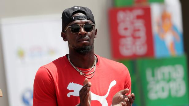 FILE PHOTO: Usain Bolt visits the remodeled Atletico de la VIDENA Stadium for the 2019 Pan American Games, in Lima