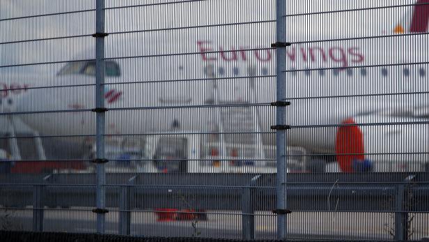Parked plane at Cologne-Bonn Airport