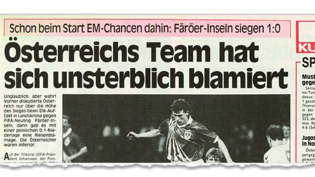 Die Mutter aller Blamagen: Als Österreich gegen Färöer verlor | kurier.at