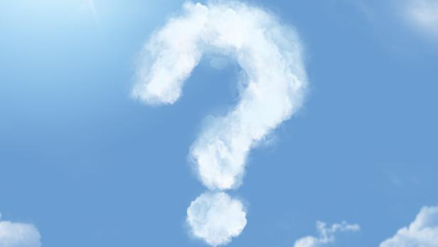 Flossy cloudlet in the shape of question mark