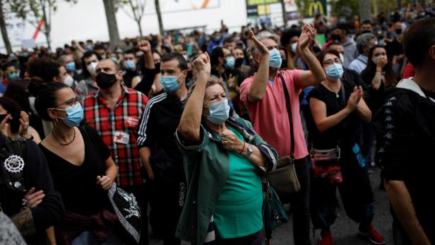 Protest in Madrid district against new coronavirus restrictions