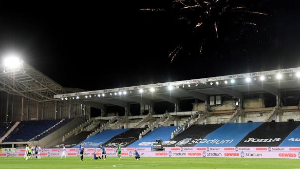 FILE PHOTO: General view inside Atalanta's soccer stadium
