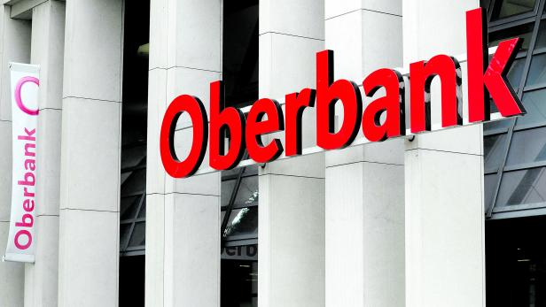 An Oberbank logo is seen at a branch office in Vienna