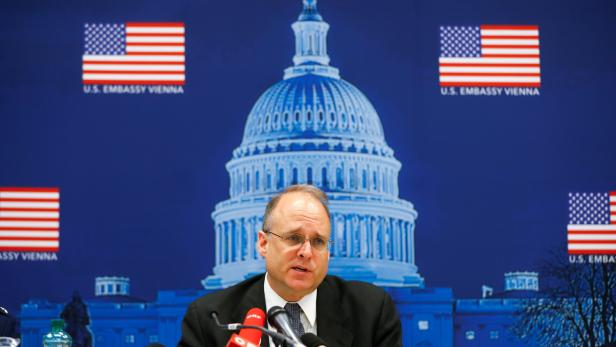 U.S. special envoy Marshall Billingslea speaks to the media after a meeting with Russian deputy Foreign Minister Sergej Rybakow in Vienna
