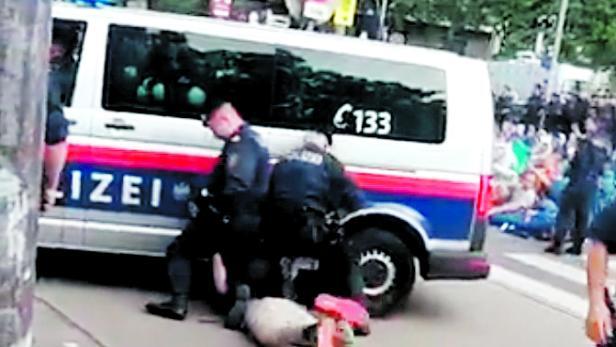 Mutmaßliche Polizeigewalt, Klima-Demo. Aktivist, Polizei