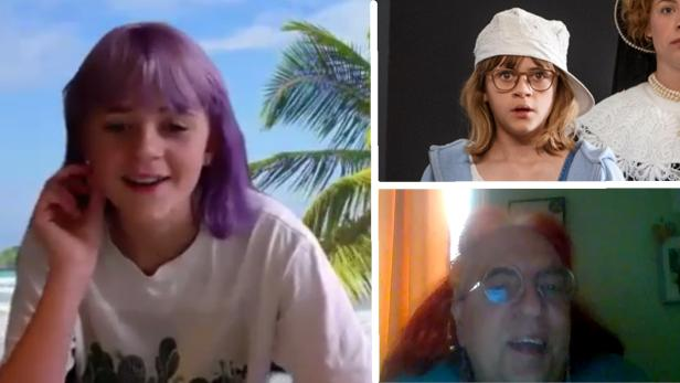 """Frouke Verheijde - links im Video-Interview mit dem Kinder-KURIER (rechts unten) - und im Film """"Jackie und Oopjen"""" (rechts oben)"""