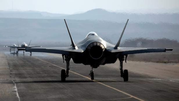 """FILE PHOTO: An Israeli F35 aircraft is seen on the runway during """"Blue Flag"""", an aerial exercise hosted by Israel with the participation of foreign air force crews, at Ovda military air base, southern Israel"""