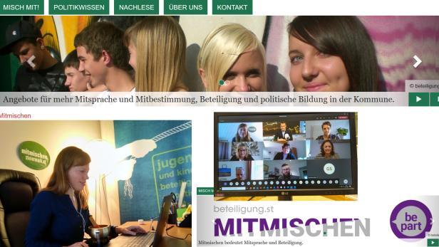 Montage aus Fotos und Ausschnitten der Homepage von mitmischen.steiermark.at