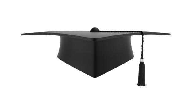 Black Mortar board Isolated On White
