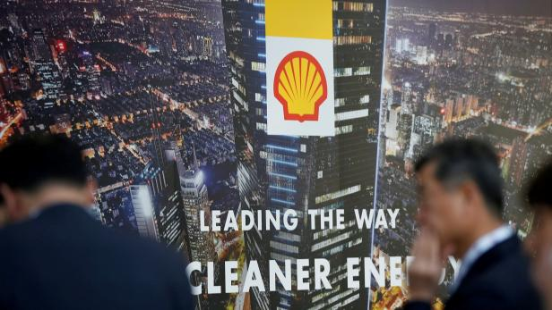 FILE PHOTO: Logo of Royal Dutch Shell is seen at Gastech, the world's biggest expo for the gas industry, in Chiba