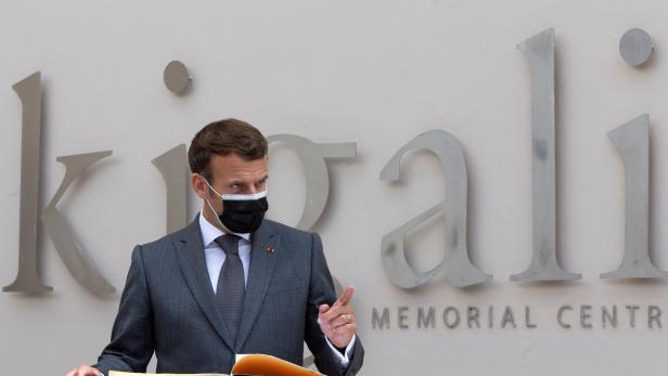 French President Emmanuel Macron visits genocide memorial centre in Gisozi, Kigali