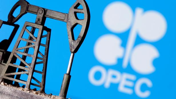 FILE PHOTO: A 3D-printed oil pump jack in front of the OPEC logo in this illustration picture