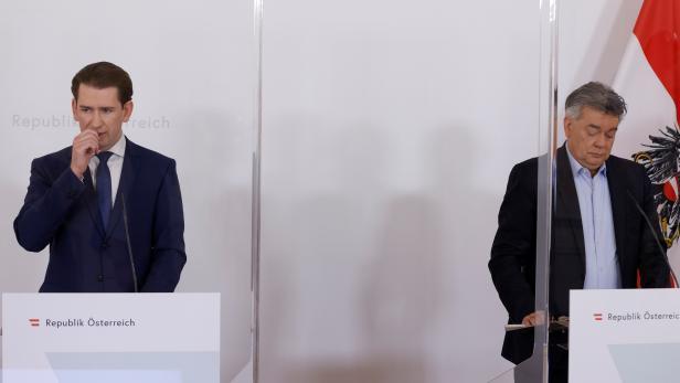Austria's Chancellor Kurz and Vice Chancellor Kogler address a news conference in Vienna