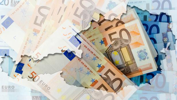 Outline map of Austria with transparent euro banknotes in backgr