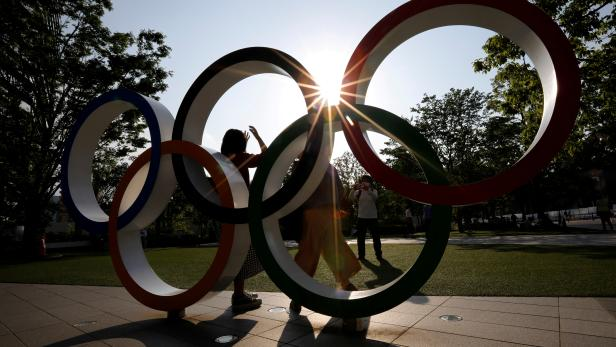 FILE PHOTO: Olympic Rings monument outside the Japan Olympic Committee (JOC) headquarters in Tokyo