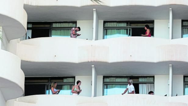 Students visiting from the mainland are isolated in a hotel after testing positive for COVID-19, in Palma de Mallorca