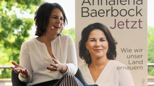 """Germany's Green party candidate for chancellor Baerbock presents her book """"Jetzt: Wie wir unser Land erneuern\"""