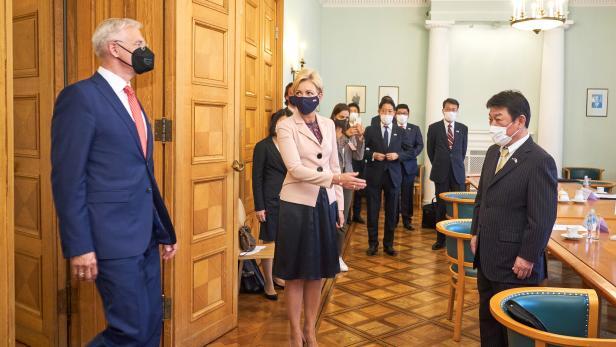 Japanese Foreign Minister Toshimitsu Motegi in Riga