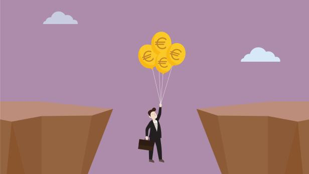 Businessman floating up in between a cliff by Euro currency symbol balloon