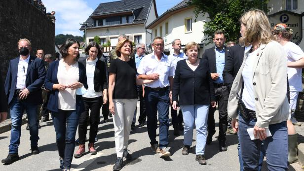 German Chancellor Angela Merkel visits the flood-ravaged areas in Rhineland-Palatinate State