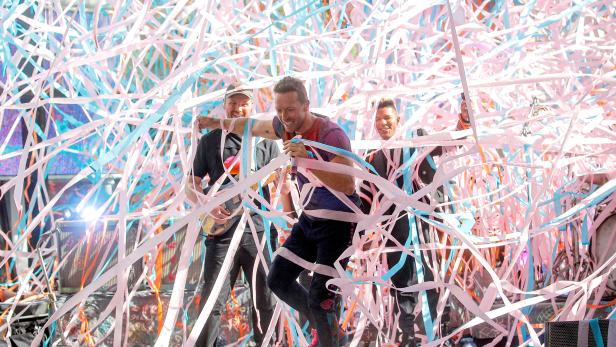 Singer Chris Martin performs with his band Coldplay on NBC's Today show in New York