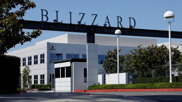 The entrance to the Activision Blizzard Inc. campus is shown in Irvine, California
