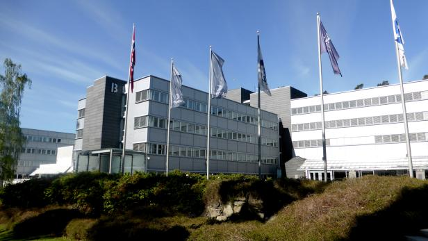 FILE PHOTO: A general view of the Norwegian aluminium producer Norsk Hydro headquarters in Oslo
