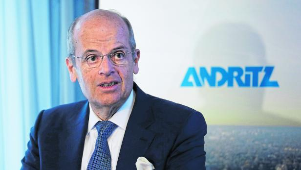 FILE PHOTO: Leitner, CEO of Austrian machinery maker Andritz, addresses a news conference in Vienna