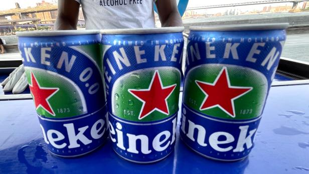 Cans of Heineken non-alcoholic beer are seen at a sampling event at Pier 17 in New York City's Seaport District