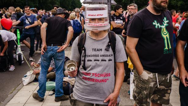 Unauthorized protest against anti-coronavirus measures held in Berlin