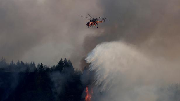 FILE PHOTO: Wildfire on Evia island