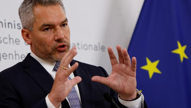 Austrian Interior Minister Nehammer attends a news conference in Vienna