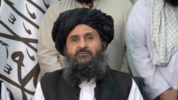 A still image taken from video shows Mullah Baradar Akhund, a senior official of the Taliban, making a video statement