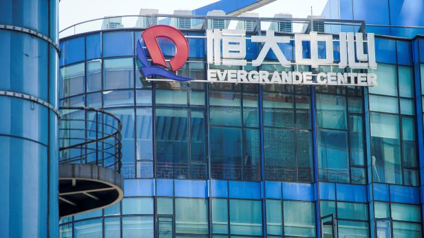 The logo of China Evergrande Group seen on the Evergrande Center in Shanghai