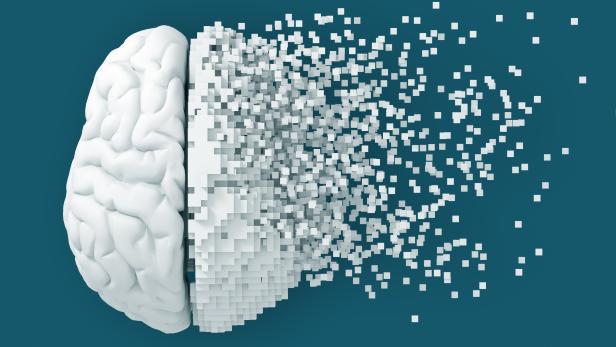 Desintegration Of Digital Brain On Blue Background